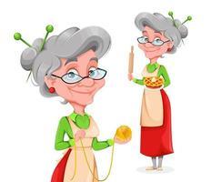 fofa mulher idosa sorridente. feliz dia dos avós vetor