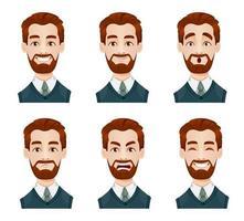 expressões faciais de empresário vetor