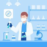 cientista tentando desenvolver vacina contra coronavírus vetor