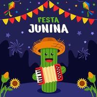 festa junina celebração com personagem de cacto vetor