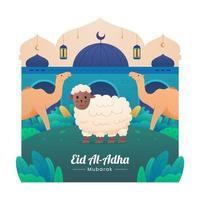 celebração eid al-adha mubarak vetor