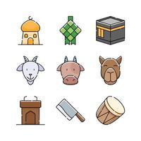 conjunto de ícones eid al-adha vetor