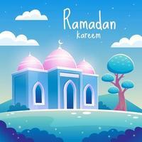 bela mesquita ramadan kareem à noite vetor