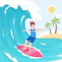 um homem surfando na praia vetor