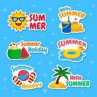conjunto de adesivos de férias de verão vetor