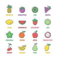 ícones de linha de vetor de frutas com cores planas