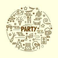 conjunto de ícones de linha fina mínima de festa vetor