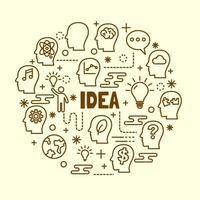 conjunto de ícones de linha fina de ideia mínima vetor