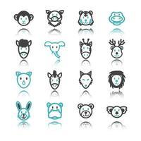 ícones de animais selvagens com reflexão vetor