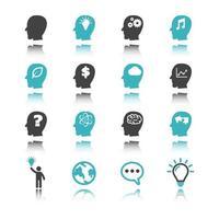 ícones de ideias com reflexão vetor