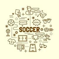conjunto de ícones de linha fina mínima de futebol vetor