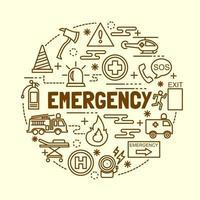 conjunto de ícones de linha fina mínima de emergência vetor