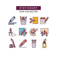 conjunto de ícones para material escolar vetor