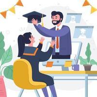 comemorar a formatura online vetor