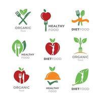 conjunto de logotipo simples de comida saudável vetor