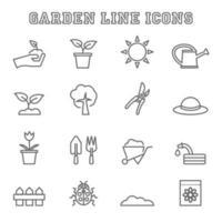 ícones de linha de jardinagem vetor