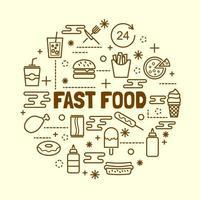 conjunto de ícones de linha fina mínima de fast food vetor