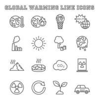 ícones de linha de aquecimento global vetor