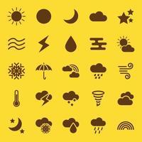 ícones sólidos de clima vetor