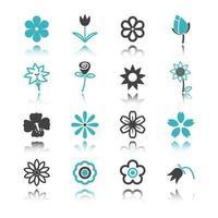 ícones de flores com reflexo