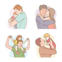 feliz dia dos pais com personagens de pai e filhos vetor