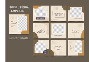 modelo feed moda mídia social instagram puzzle vetor
