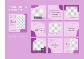mídia social moda feminina postar modelo de puzzle vetor