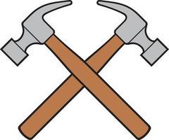 ilustração vetorial de cores de martelos cruzados vetor