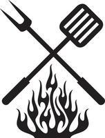 ilustração em vetor design grill fogo