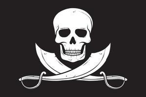 ilustração do vetor de caveira com bandeira de pirata e sabres cruzados