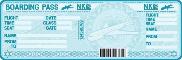 cartão de embarque azul vetor