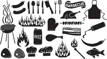 conjunto de ícones de churrasco e comida vetor