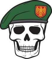 caveira e boina militar vetor
