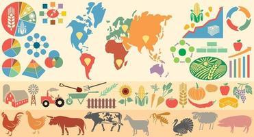 elementos infográfico agrícolas vetor
