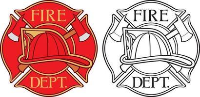 corpo de bombeiros ou bombeiros cruz maltesa vetor