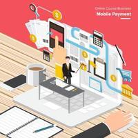 pagamento móvel curso online vetor