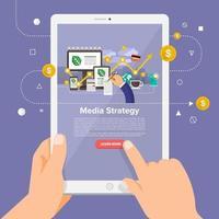 estratégia de mídia do curso online vetor