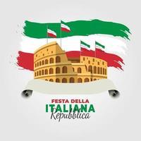 pôster do dia da república da itália com o coliseu vetor