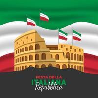 pôster do dia da república italiana vetor