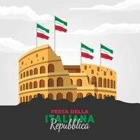 dia da república da itália com coliseu vetor