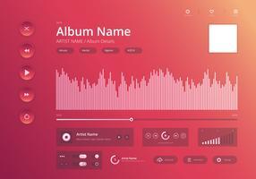 Áudio Music Control UI estilo moderno no tema brilhante e elegante. vetor