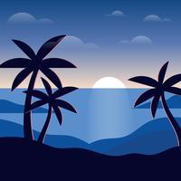 Ilustração de praia à noite vetor