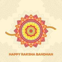 Cumprimentos de Flat Rakhi feliz com ilustração em vetor fundo Mandala