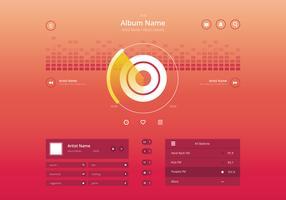 Controle de música de áudio da interface do usuário em moderno e elegante no tema colorido. vetor