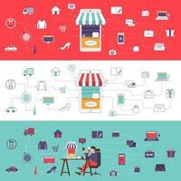 ilustração de e-comerce de marketing digital vetor