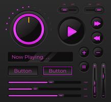 Controle moderno de interface do usuário de áudio vetor