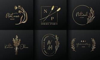 coleção de design de logotipo de luxo. emblemas dourados com iniciais e decoração floral para logotipo da marca, identidade corporativa e design de monograma de casamento. vetor