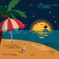 Praia do nighttime vetor