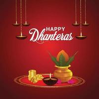 Happy Dhanteras Indian Festival Celebration cartão comemorativo com pote de moedas de ouro vetor