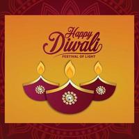 feliz festival de luz diwali com ilustração e plano de fundo criativos vetor